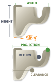 "3 1/2"" Return Bracket Size Diagram"