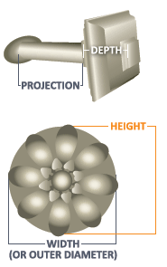 "4 1/2"" Contemporary Holdback With 2 1/2"", 5"" Or 7 1/2"" Projection Stem Size Diagram"